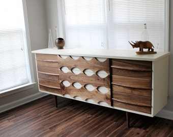 Mid Century Inspired Ellipse Walnut Dresser