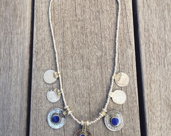 Kuchi coins and lapis lazuli necklace, Kuchi inspired jewlery, Tribal jewlery Gypsy jewelry