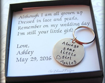 Father of the Bride, Dads Keychain, Gift for Father of the Bride, Personalized keychain, complete boxed gift set for father of bride