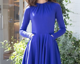 Blue Dress, Flared, Fit and Flare, Long Sleeves, Pockets, Ponte, Jersey, Royal Blue, Cobalt, Fall Dress, Work, Office, High Neckline, Mini