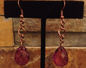 Purple Faceted Teardrop Bead Copper Chain Long Drop Dangle Earrings