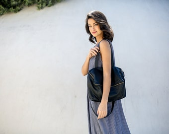 Black Leather Bag, Black Tote Bag,  Leather Shoulder Bag, Large Bag, Women Work Bag