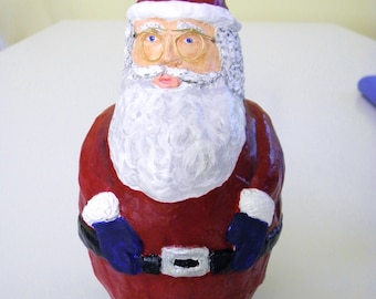 Handmade Paper Mache Santa