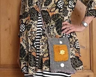 Hand Knit Light Grey, Dark Grey and Gold Felt Phone Bag - Pretty Poinsettia