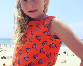 Summer Watermelon Printed Girls Crop Top