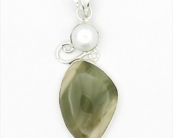 Dazzling! New Green Imperial Jasper,Pearl 925 Sterling Silver Pendant Jewelry A0247