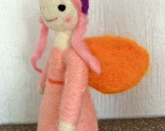 Malva fairy - Needle felted wool doll - Natural and ecofriendly