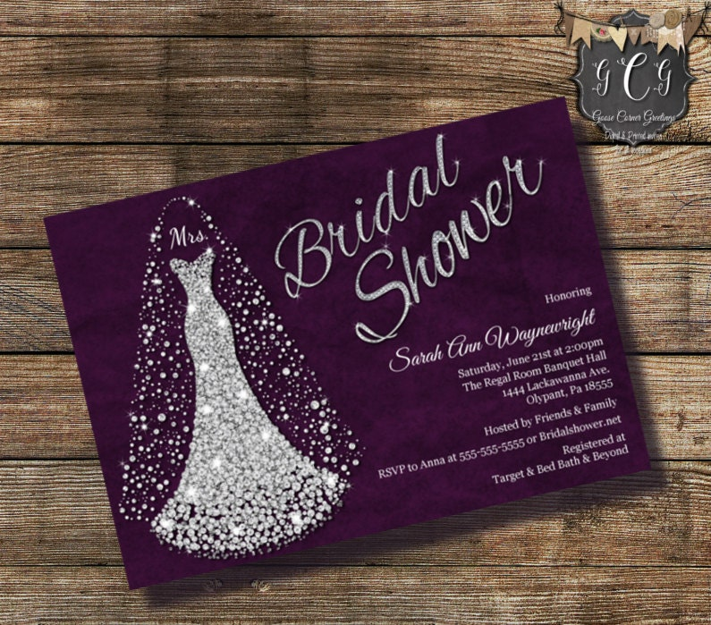 Wedding dress invitation bridal shower by goosecornergreetings for Wedding dress bridal shower invitations