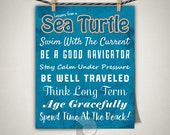Sea turtle wall art, inspirational quotes, sea turtle art, lessons from a