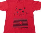 SAMPLE SALE! size 2T - CAT tshirt for kids - Kitty,  Kitten, Cat lover - French, Spanish, English - Hand Printed, Cotton,   Funny t-shirt