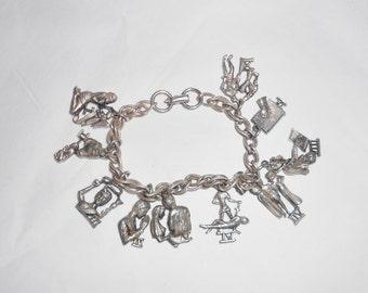 Coro charm bracelet, 1960s Religious themed charms, chunky silver metal chain, Ten Commandments charms