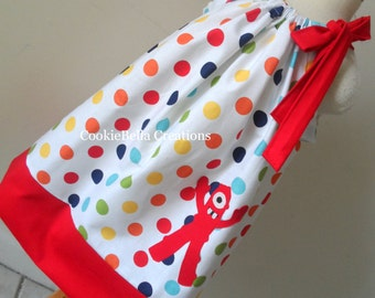 Red Guy Rainbow Polka Dot Pillowcase Dress Yo Gabba Gabba