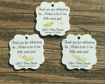 "Baby Shower Sweet Pea Favor Tags, 1.75"", Pea in a Pod, Baby Showers, Gender Reveal Parties, Favor Tags, Thank You Tags - Choose Your Gender"