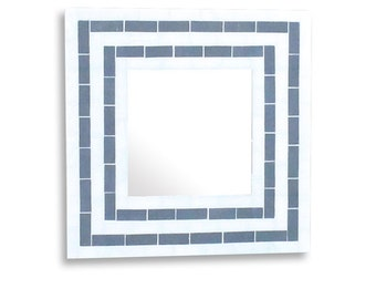 Mosaic Wall Mirror, Decorative Mirror in Beige and Grey Stripes, Vanity Mirror