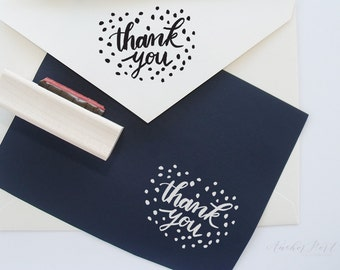 Thank you stamp | brush lettering stamp | stationery | gift