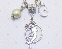 Silver Parakeet Bird Charm Necklace With Personalized Initial And Pearl, Parakeet Necklace