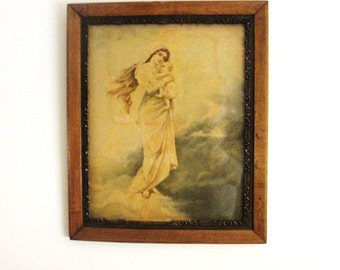 Antique Lithograph Mary Acknowledging Her Role as The Queen of Heaven in Wonderful Vintage Frame.
