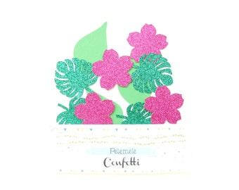 Tropical Flower & Leaf Confetti - Party Confetti, Party Decor, Table Scatter, Party Decor, Tropical Confetti, Glitter Confetti
