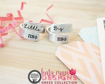 Pi Beta Phi Big Little Wrap Ring Set - ΠΒΦ Big Little Sorority - Official Licensed Product - Pi Phi Big Little Reveal - Hand Stamped Rings