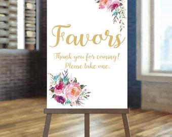 Printable wedding favors sign, Wedding favors sign, Floral wedding sign , Gold favors sign, Bohemian wedding sign, Coral Favors sign, Laura