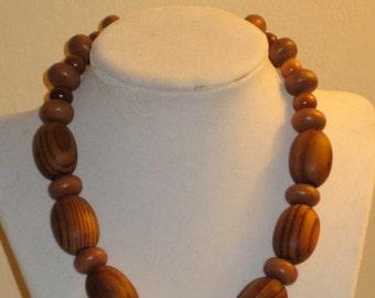 Big Brown Wood Artisan Necklace.