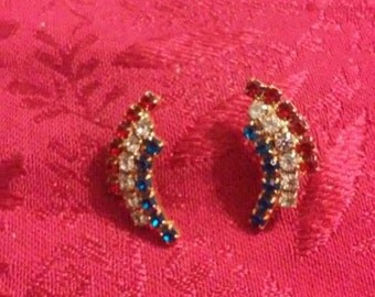 Vintage Red white and blue rhinestone, gold tone back, post Earrings