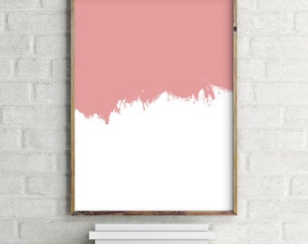 Minimalist Pink & White Paint Stroke Printable Wall Art, Modern contemporary poster download (8x10 and various sizes) Gallery Wall