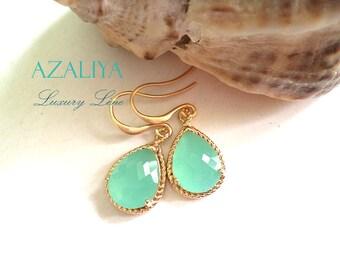 Pacific Diamond Earrings in Gold. Teal Quartz Crystals Earrings. Mint Green. Azaliya Luxury Line. Bridal, Bridesmaids Earrings.