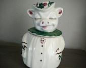 Antique 1940s Shawnee Winnie the Pig cookie jar, shamrock clover adorned pig, vintage cookie jar, kitchenware, made in the USA