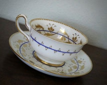 Antique Royal Chelsea white, blue, and gold tea cup and saucer, English bone china tea set, wedding gift