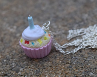 Birthday Confetti Cupcake Necklace, Polymer Clay Necklace, Handmade Polymer Clay Jewelry