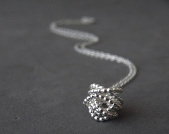 Bundle Pendant Necklace Sterling Silver Abstract Pendant Dotted Pendant by SteamyLab