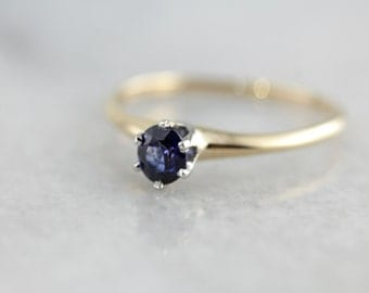 Classic Sapphire Solitaire Ring, Vintage Yellow Gold Engagement Setting with New Fine Blue Sapphire 6JXQRX-P