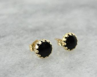 Basic Black: Onyx and Yellow Gold Earrings  5XXN8X-D