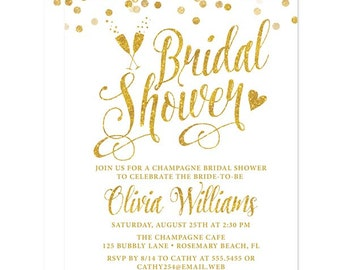 White & Gold Bridal Shower Invitations - Printed Bridal Shower Invitations - Professional Printing