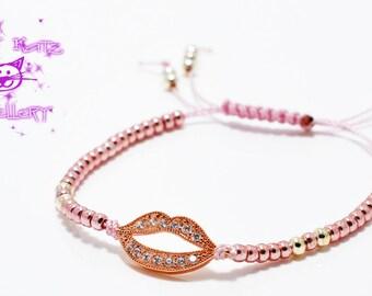 Cubic Zirconia Crystal Kiss Charm Bracelet