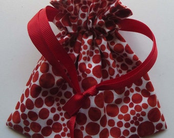 Bubbles and Stripes Lined Drawstring Fabric Jewelry Gift Bag Christmas