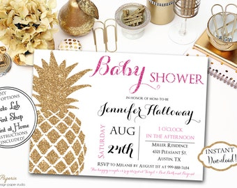 Tropical Baby Shower Invitation Luau Baby Shower Invitation