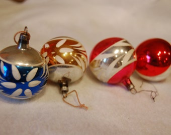 4 vintage hand painted Glass Christmas Ornaments - 2""