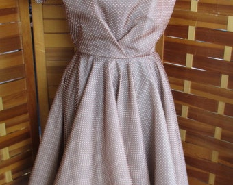 Vintage 50s Brown Dotted Organza Full Skirt Party Dress XS S