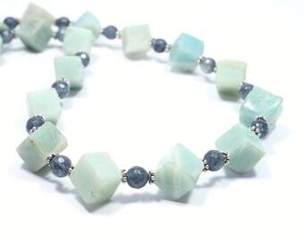 Amazonite Necklace - Amazonite Gemstone Necklace - Natural Stone Necklace - Gemstone Jewellery - Beadwork Jewelry - Seafoam Necklace