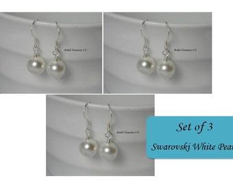 Set of 3 Single Pearl Bridal Earrings, Classic Pearl Wedding Earrings, Bridal Accessories, Swarovski Pearl Earrings, Pearl Drop Earrings SP1