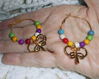 Butterfly Earring Hoops. (E 516)