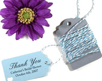 Blue Bridal Shower Favors Set of 20 - Light Blue Personalized Wedding Gift Tags - Wedding Tags - Sky Blue Baby Shower Tags - Baby Blue
