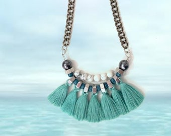 Turquoise fringe necklace, aqua green necklace, tribal statement necklace, tassels necklace, white turquoise stone beads.