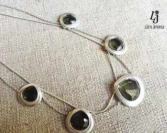 Silver Olive Green Pendant Double Chain Necklace, reclaimed jewelry, silver chain, moss green pendant, silver necklace, gem jewelry