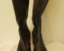 vintage Black Leather Tall Boots with Stacked Wood Heel  Nine West - size 9 M