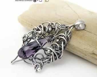 Shabag-Quartz, silver, wire wrapping, pendant