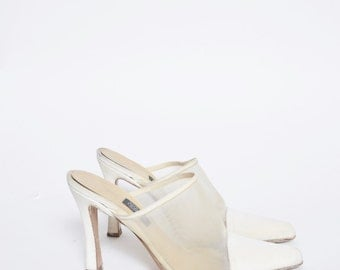 Vintage 90's White Mesh High Heels Shoes