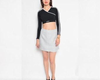 Vintage 90's Grey Mini Skirt / High Waist Gray Skirt